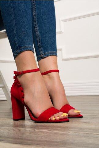 Sandale rosii din piele cu volanase la calcai