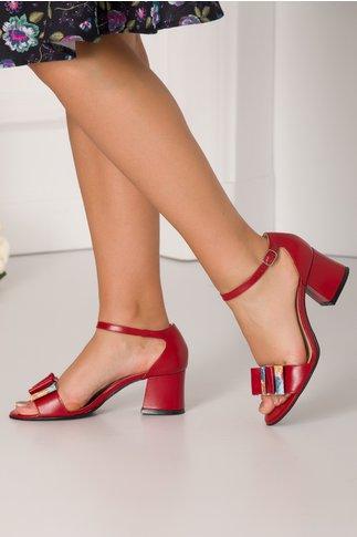 Sandale rosu inchis cu fundita maxi in fata