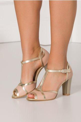 Sandale roz prafuit cu insertii aurii