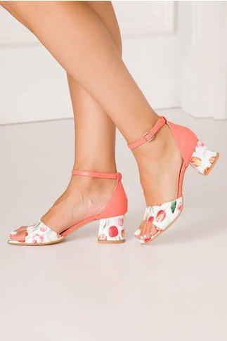 Sandale somon cu imprimeu cu lalele multicolore