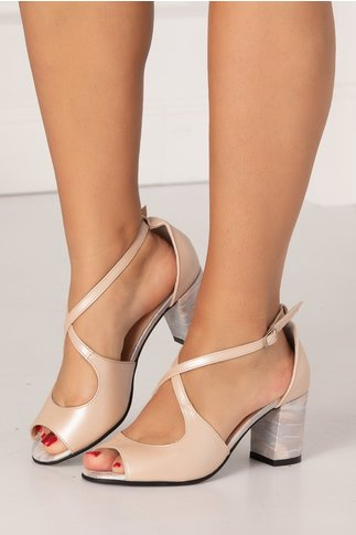 Sandale somon perlat cu imprimeu in nuante pastelate