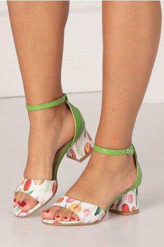 Sandale verde deschis cu imprimeu cu lalele multicolore