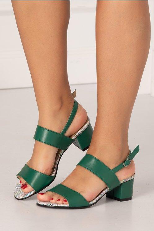 Sandale verde inchis cu imprimeu in dungi multicolore