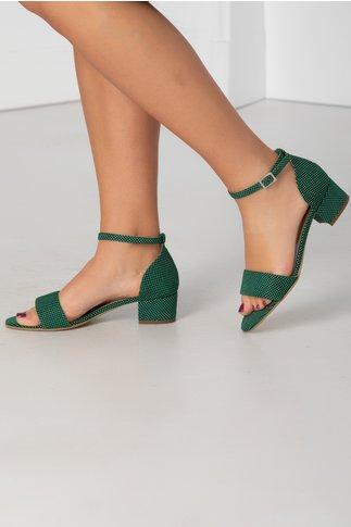Sandale verzi cu toc jos si buline albe
