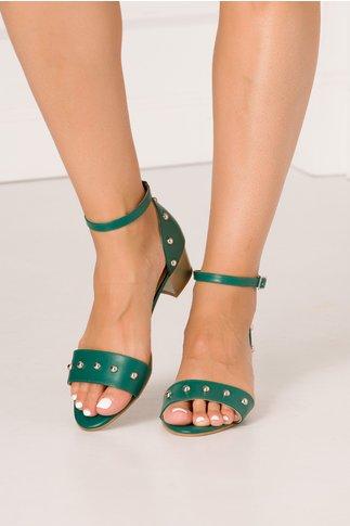 Sandale verzi cu toc jos si insertii aurii