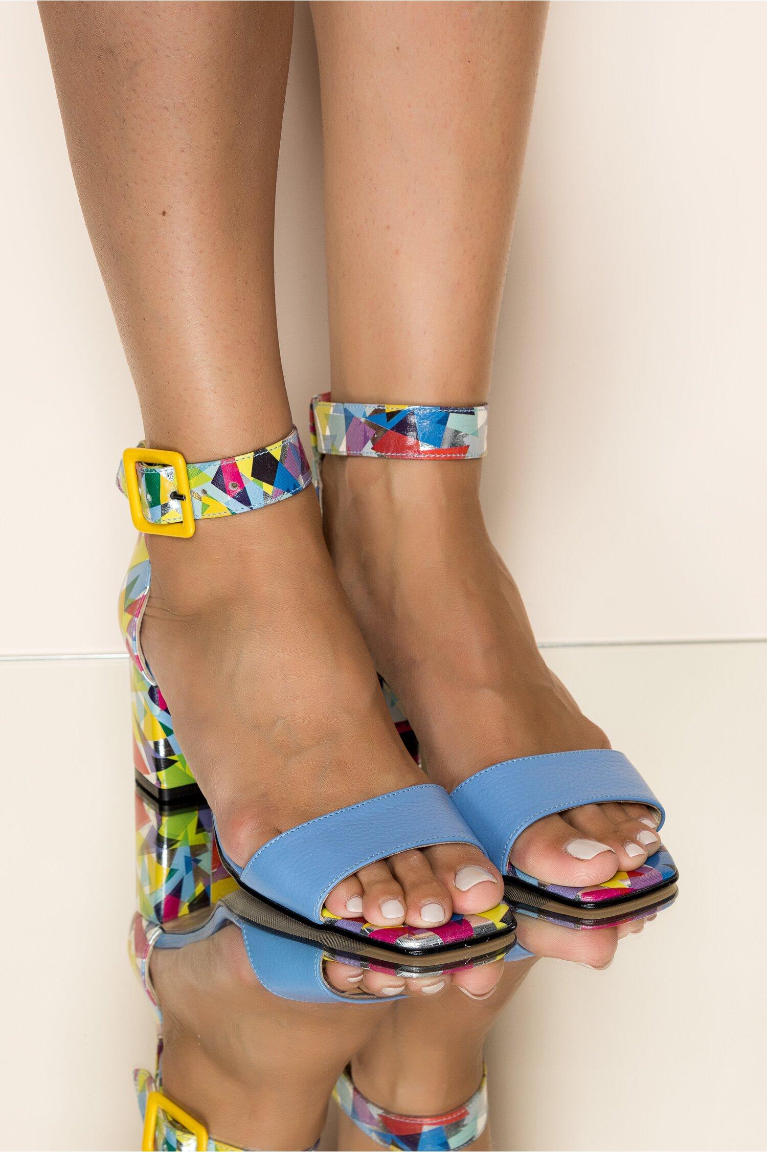 Sandale Xiya bleu cu imprimeu geometric