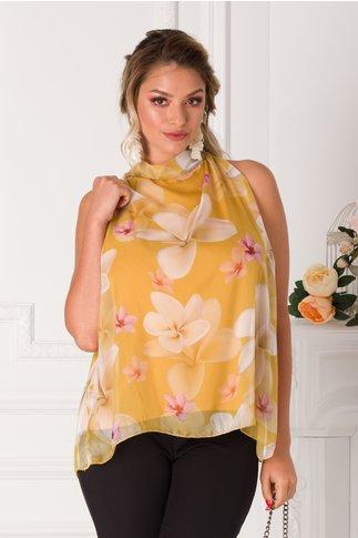 Top Lessie galben cu imprimeu floral pastelat