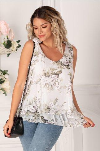 Top over size alb cu imprimeu floral