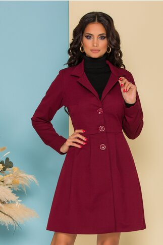 Trench Ella Collection Kira bordo cu pliuri pe talie