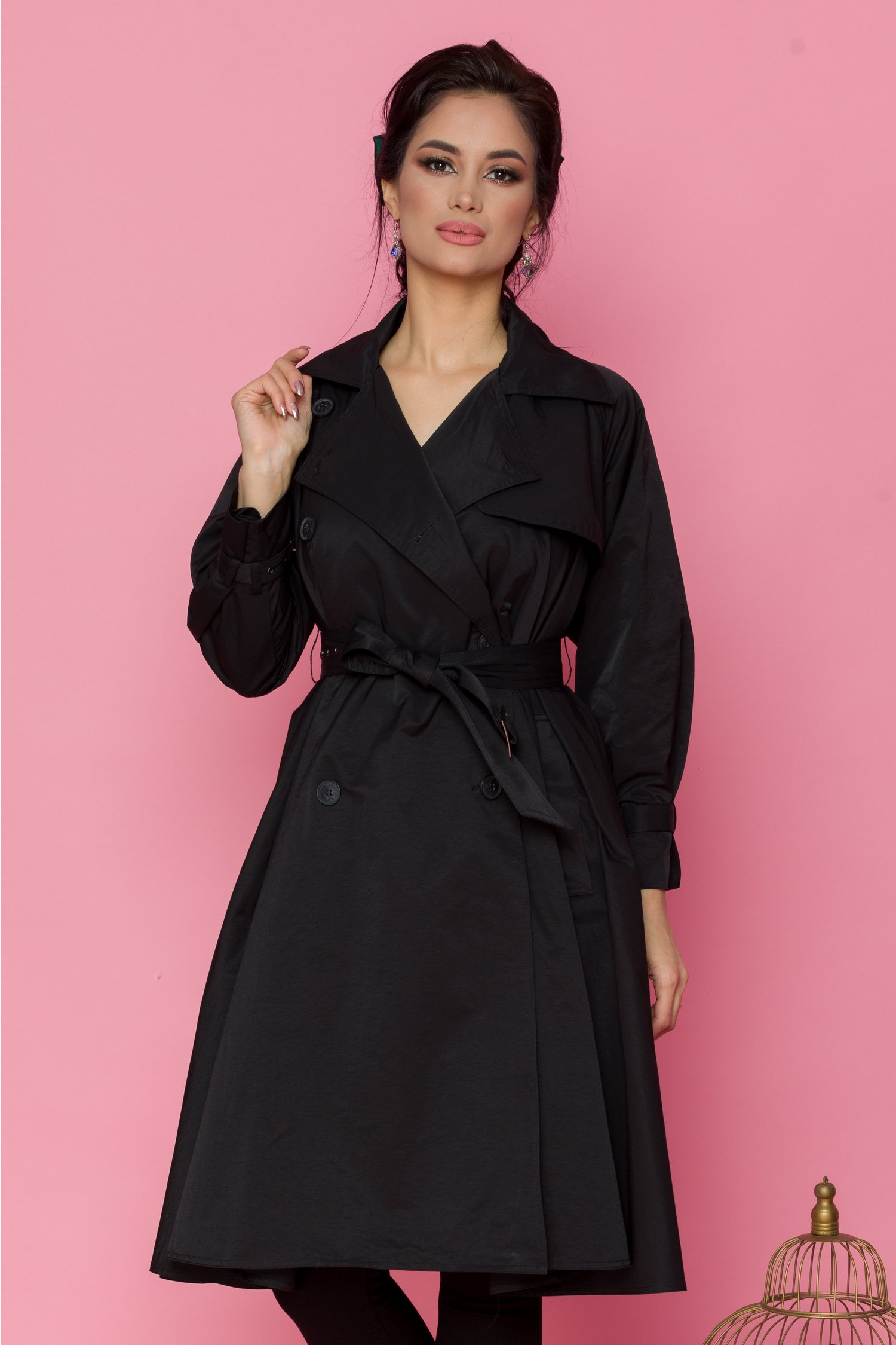 Trench Kate negru lung