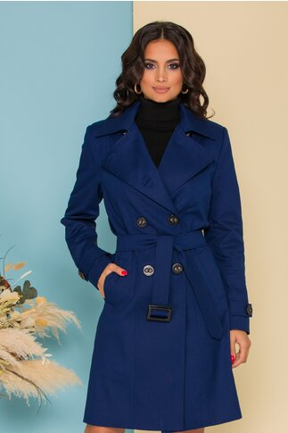 Trench Vera casual-office bleumarin cu cordon in talie