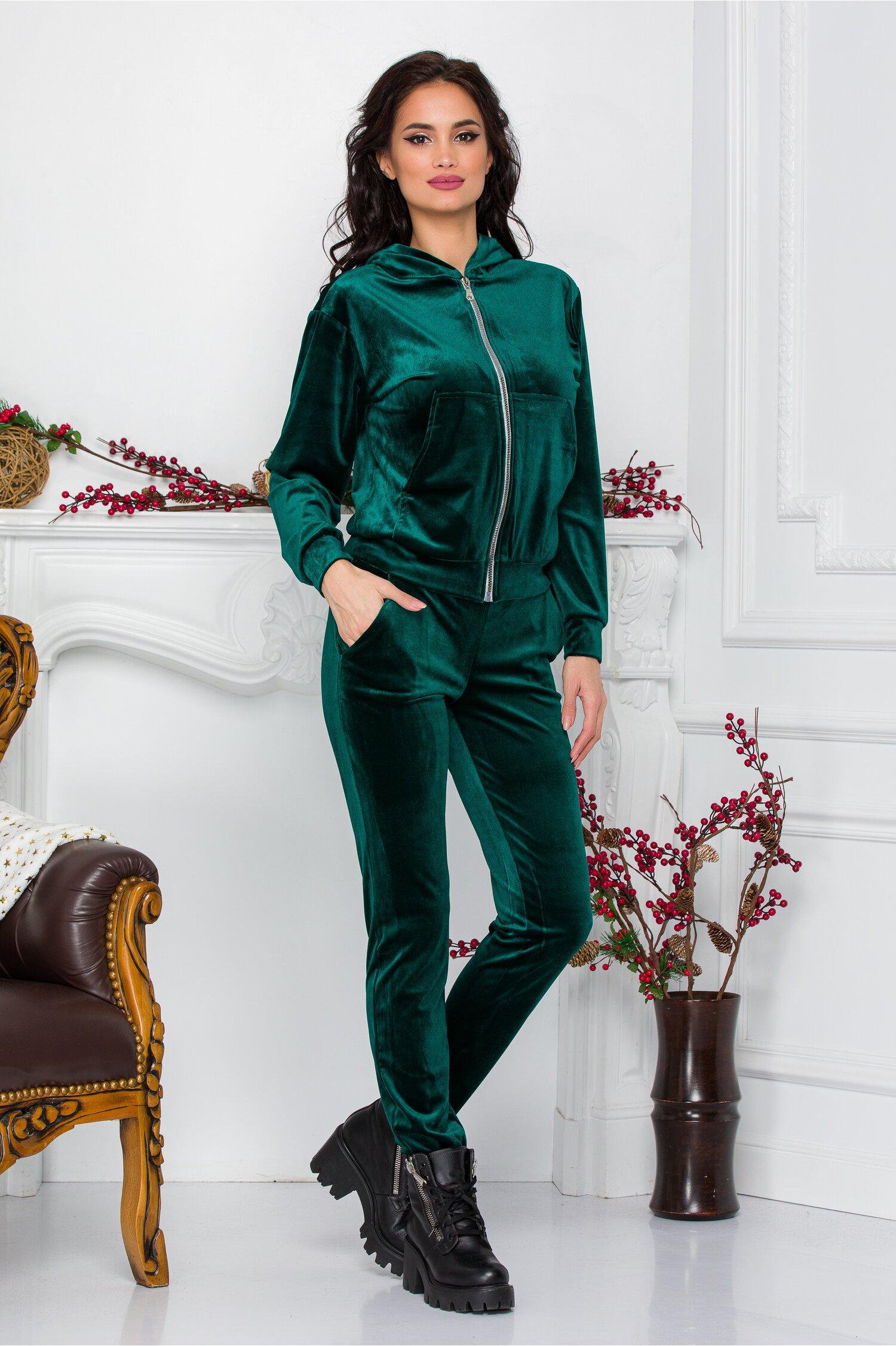 Trening de dama verde din catifea