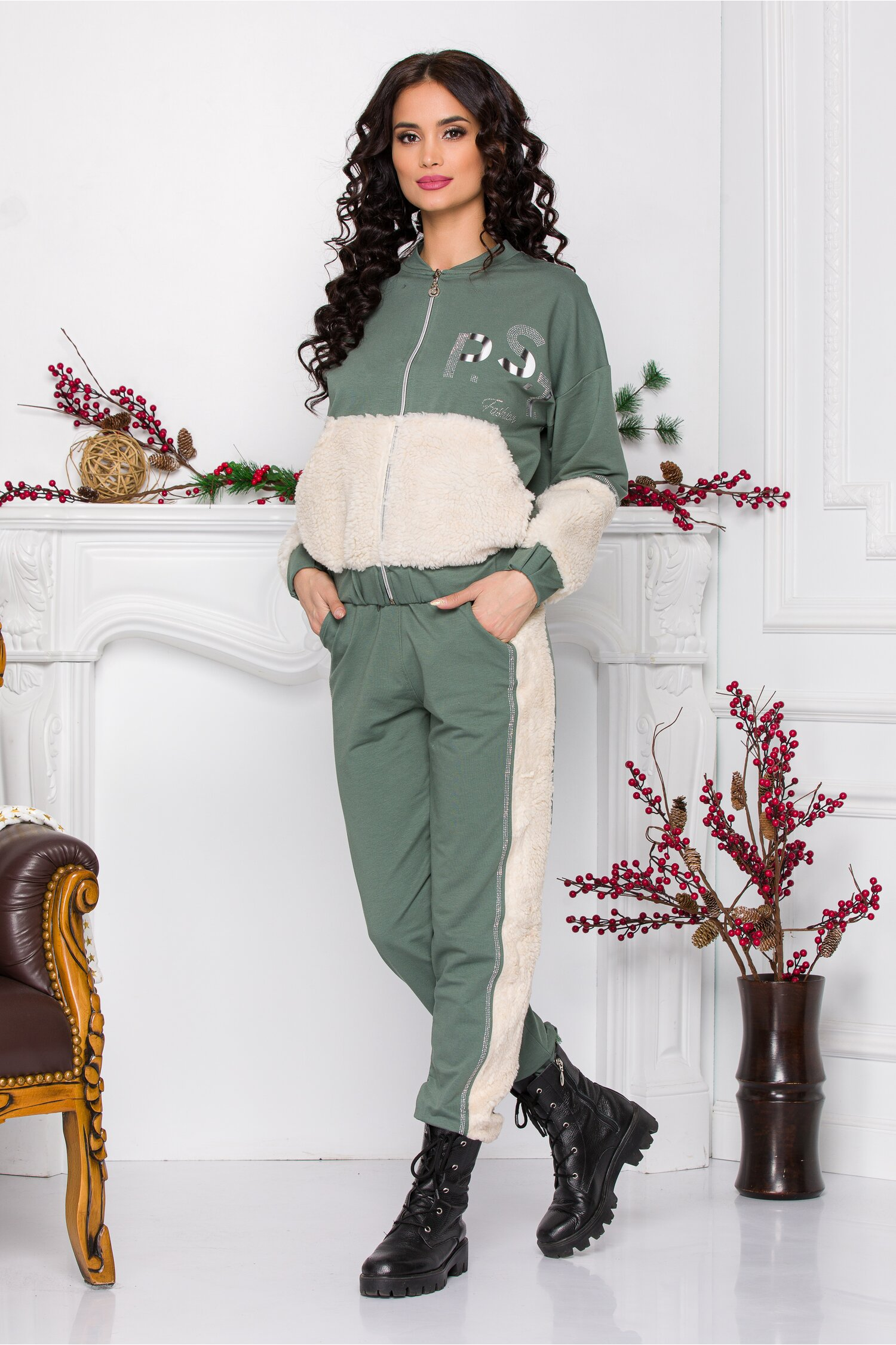 Trening PS Fashion vernil cu insertii din blanita ecologica