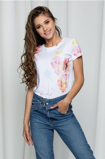 Tricou Adnana alb cu imprimeu floral