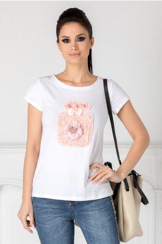 Tricou alb cu aplicatie din dantela roz