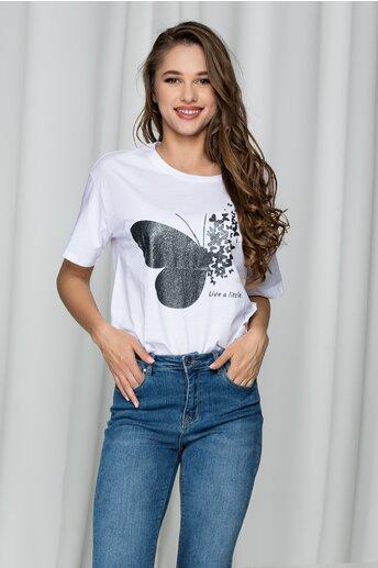 Tricou alb cu fluturi argintii si imprimeu text