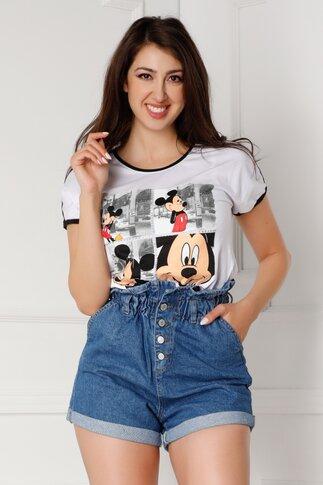 Tricou alb cu Mickey Mouse si elastic la baza