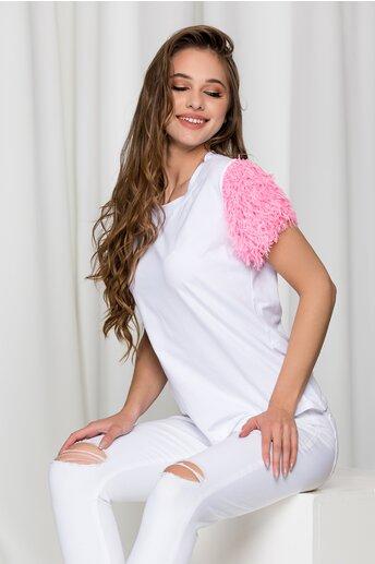 Tricou alb cu pene roz la maneci