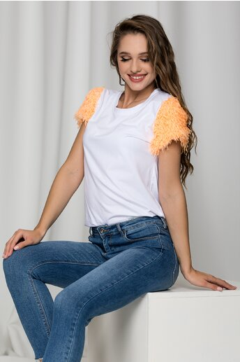 Tricou alb cu pene orange la maneci