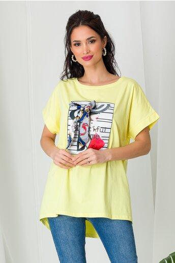 Tricou Beautiful Time galben cu strasuri