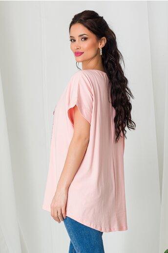 Tricou Beautiful Time roz cu strasuri