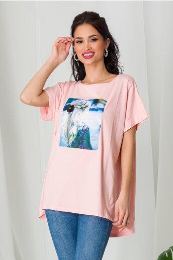 Tricou Blonde Girl roz cu paiete