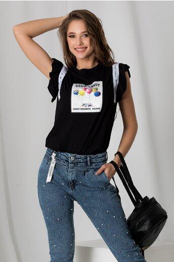 Tricou Candy negru cu imprimeu si volanase la maneci