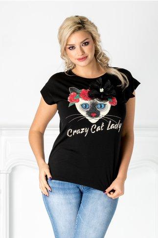 Tricou Cat Lady negru