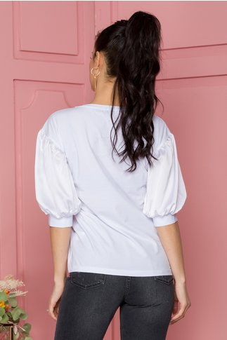 Tricou Cera alb cu scris negru si strasuri pe fata