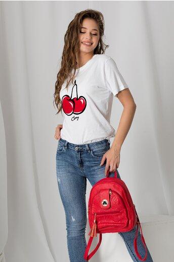 Tricou Cherry alb cu aplicatie catifelata