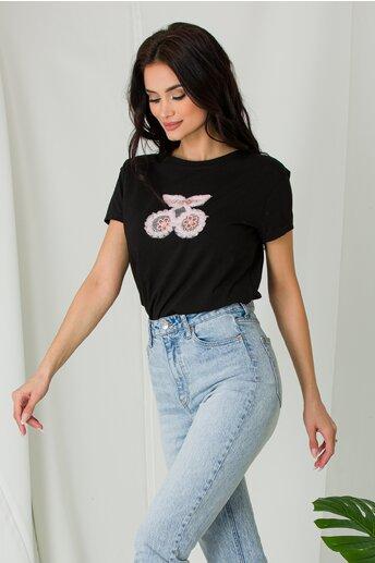 Tricou Cherry negru cu insertii din danteluta