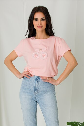 Tricou Cherry roz cu insertii din danteluta