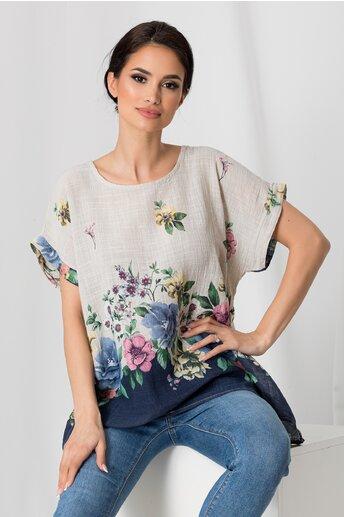 Tricou Clara bej cu imprimeu floral