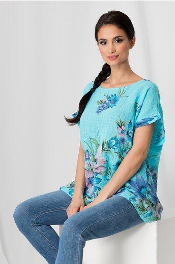 Tricou Clara bleu cu imprimeu floral