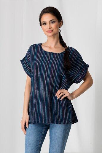 Tricou Clara bleumarin cu dungi colorate