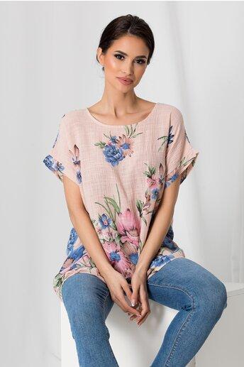 Tricou Clara roz cu imprimeu floral