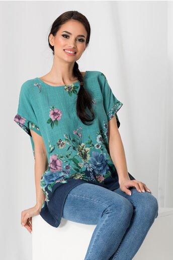 Tricou Clara turcoaz cu imprimeu floral