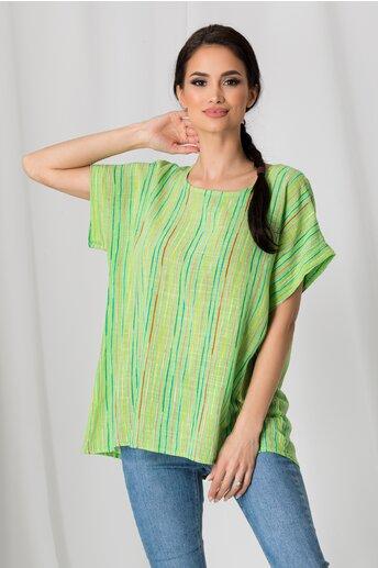Tricou Clara verde cu dungi colorate
