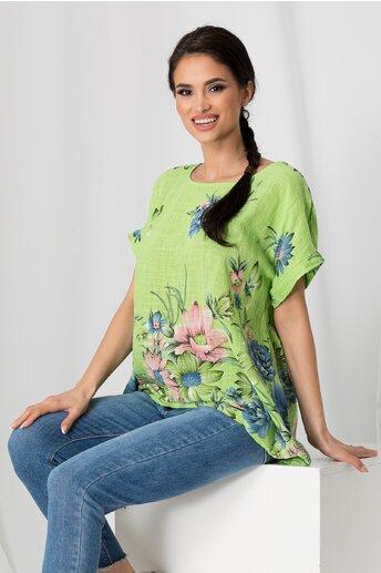 Tricou Clara verde cu imprimeu floral