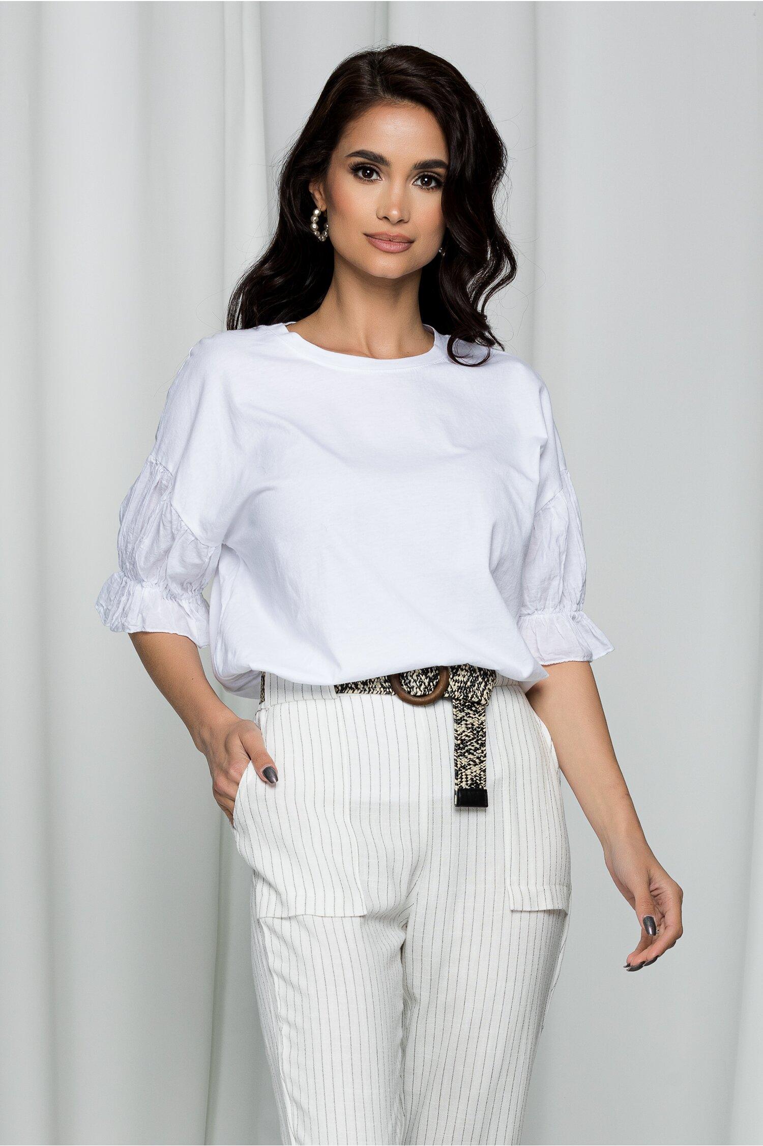 Tricou Diana alb cu maneci bufante accesorizate cu volanas