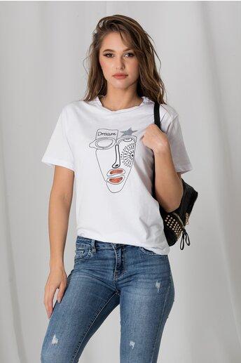 Tricou Dream alb cu imprimeu