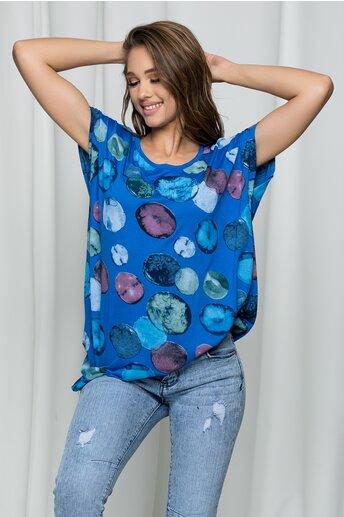 Tricou Elena albastru cu buline