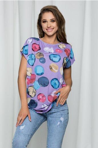 Tricou Elena lila cu buline