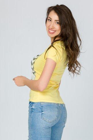 Tricou Empire galben cu imprimeu