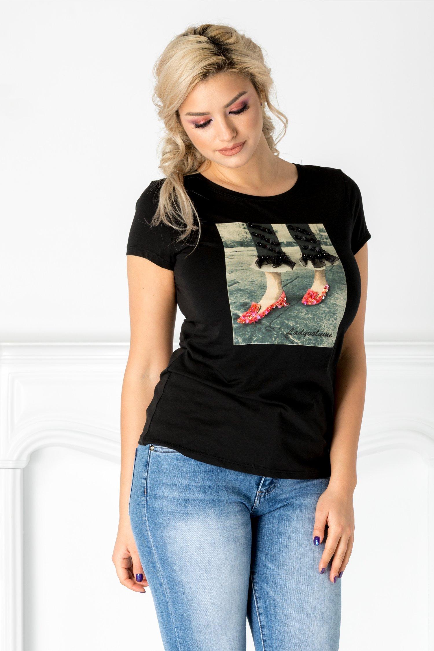 Tricou Enda negru cu imprimeu la bust si paiete colorate