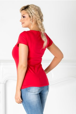 Tricou Enda rosu cu imprimeu la bust si paiete colorate