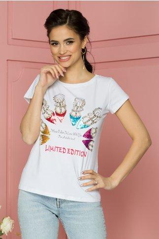 Tricou Fallen alb cu imprimeuri si paiete colorate