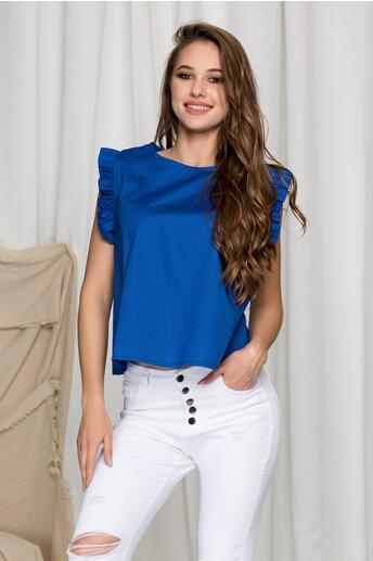 Tricou Gilly albastra cu volanase la maneci