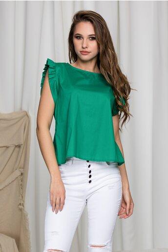 Tricou Gilly verde cu volanase la maneci
