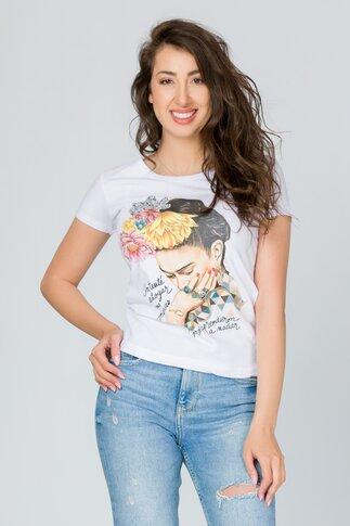 Tricou Girl alb cu imprimeu si mesaj